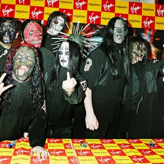 LONDON - MAY 23: Slipknot sign copies of their new album