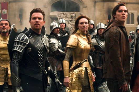 "(L-r) IAN McSHANE as King Brahmwell, EWAN McGREGOR as Elmont, ELEANOR TOMLINSON as Isabelle and NICHOLAS HOULT as Jack in New Line Cinema's and Legendary Pictures' action adventure ""JACK THE GIANT SLAYER,"" a Warner Bros. Pictures release."