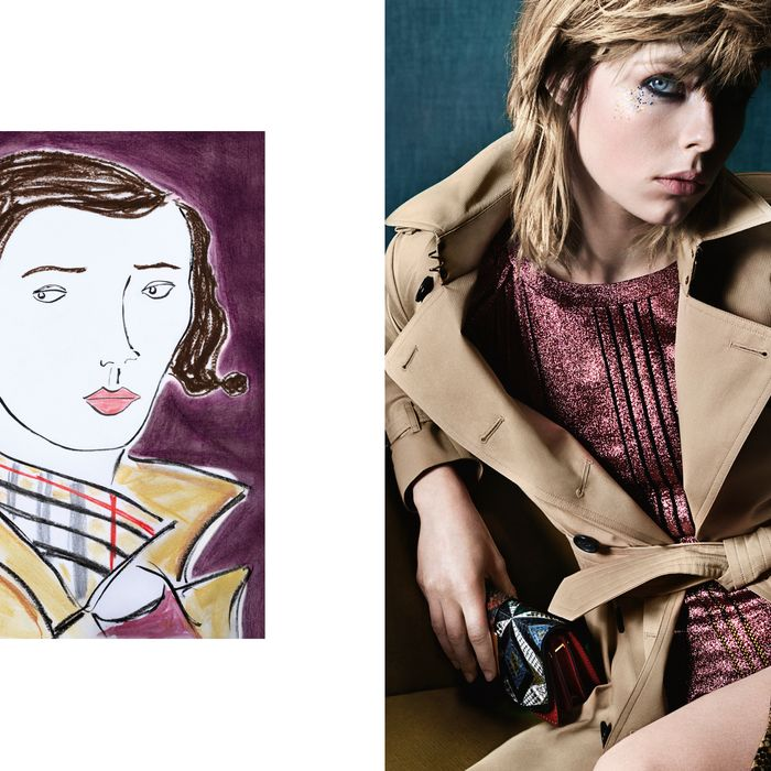 Edie Campbell in Burberry's June ready-to-wear campaign.