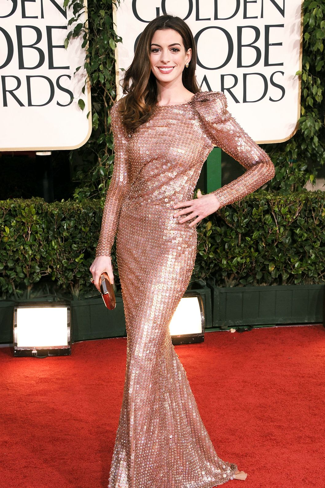 Actress Anne Hathaway arrives at the 68th Annual Golden Globe Awards held at The Beverly Hilton hotel on January 16, 2011 in Beverly Hills, California.