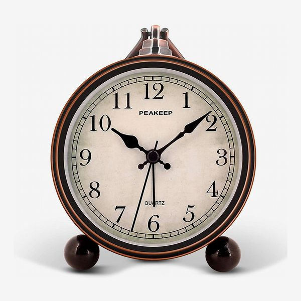 Peakeep 4-Inch Battery-Operated Antique Retro Analog Alarm Clock