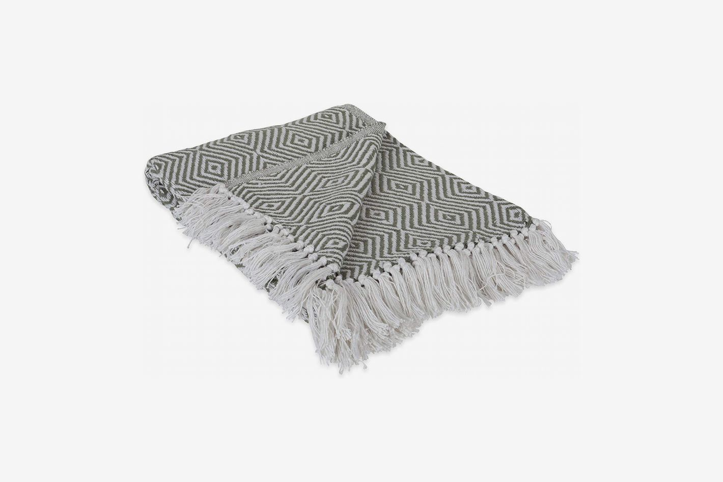 DII 100% Cotton Indoor/Outdoor Geometric Daimond Throw