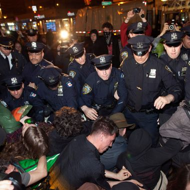 NYPD officers confront Occupy Wall Street protesters who are camping in Union Square in New York March 21, 2012.