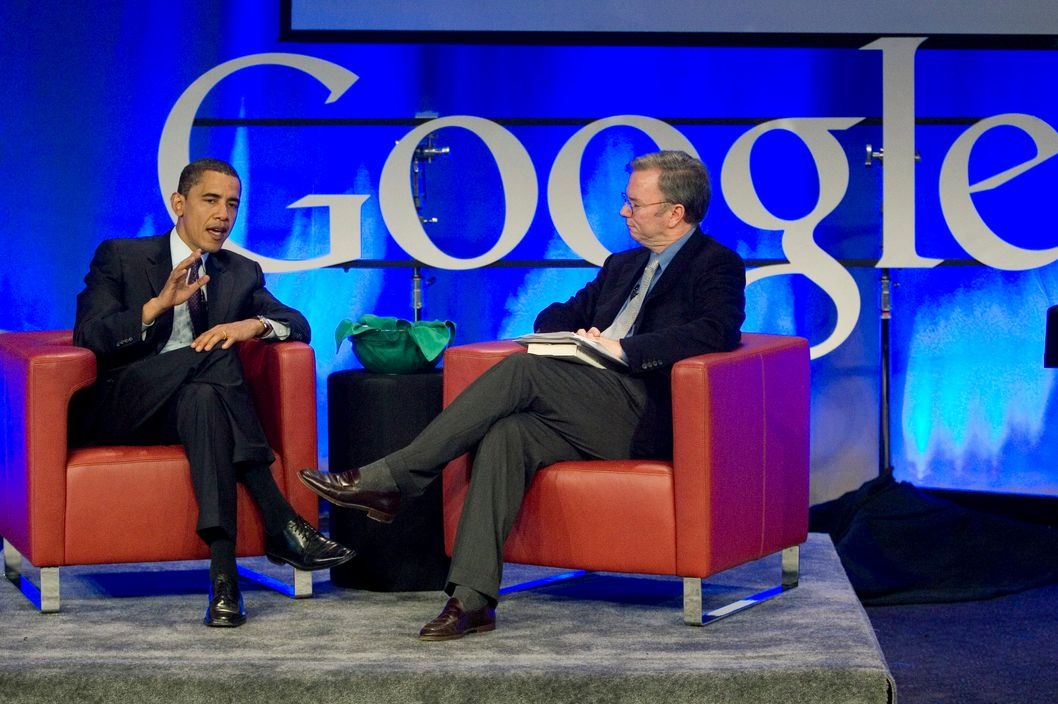 Eric Schmidt (R), Google Chairman and Chief Executive Officer, interviews Democratic, Presidential hopeful Senator Barack Obama (D-IL) during a town hall meeting at Google headquarters November 14, 2007 in Mountainview, California. In his visit Obama spoke on his position of Net Neutrality, keeping the internet a free, open network.