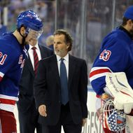 Head Coach John Tortorella of the New York Rangers walks off the ice after losing to the Boston Bruins in Game Three of the Eastern Conference Semifinals during the 2013 NHL Stanley Cup Playoffs at Madison Square Garden on May 21, 2013 in New York City. The Boston Bruins defeated the New York Rangers 2-1.