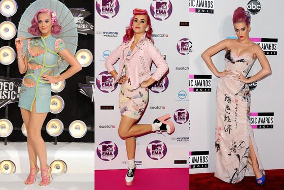 "<b>When</b>: August and November 2011     <b>Where</b>: Various musical awards ceremonies     <b>What</b>: In retrospect, we know Katy's marriage was falling apart around this time, so there could be a number of psychologically interesting explanations for her veering into looking less like herself and more like a caricature. Then again, it's Katy Perry, so it's not like ""oddball"" was virgin ground for her. That last gown might not even be terrible, if not for her roots and the fact that it's a cup size too small, but the others are totally Cocktail Geisha and <i>Betsey Johnson Presents: American Bandstand</i>."