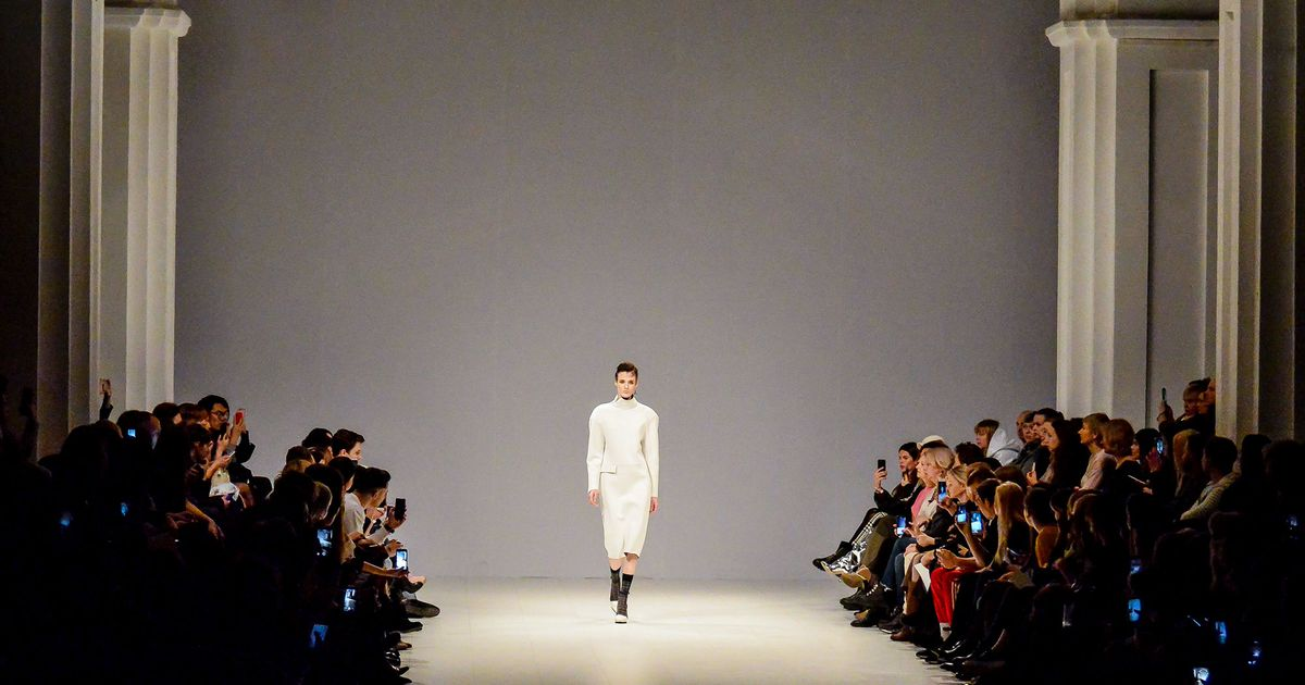 Model presents a creation by designer Elena Burenina during