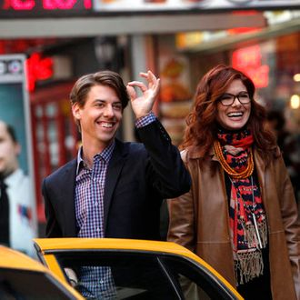 SMASH -- Pilot -- Pictured: (l-r) Christian Borle as Tom Levitt, Debra Messing as Julia Houston.