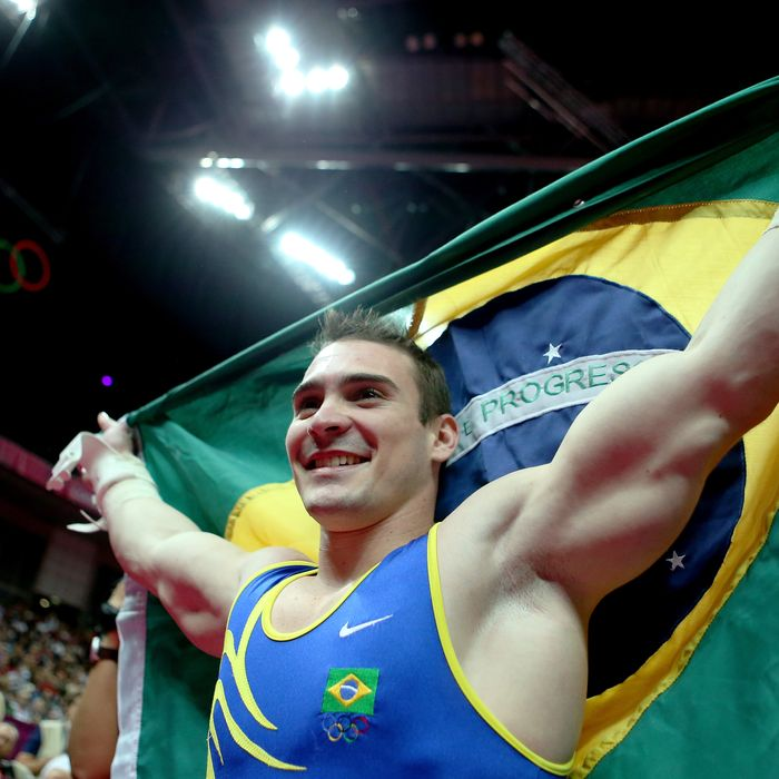 Arthur Nabarrete Zanetti of Brazil reacts after winning the gold medal on the Artistic Gymnastics Men's Rings on Day 10 of the London 2012 Olympic Games at North Greenwich Arena on August 6, 2012 in London, England.