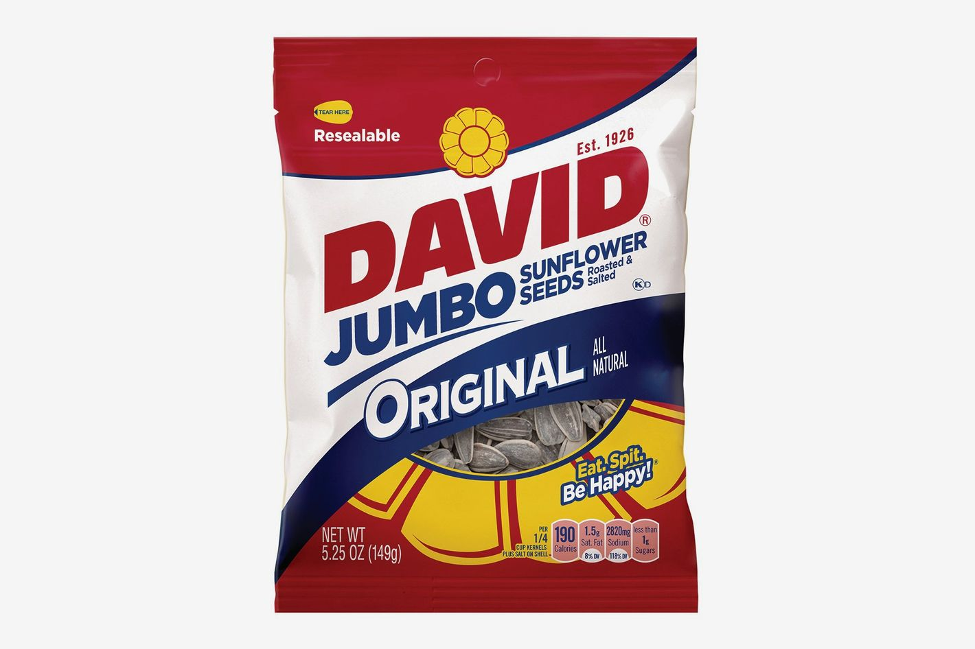 DAVID Roasted and Salted Original Jumbo Sunflower Seeds, 5.25 Oz. (Pack of 12)