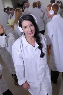 "Artist Marina Abramovic attends the The Artist is Present ""Silence Is Golden Event"" at Julie Nester Gallery on January 21, 2012 in Park City, Utah."
