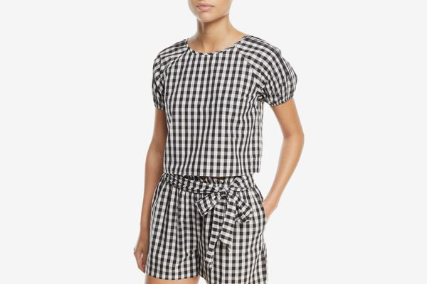 Joie Cirila Short-Sleeve Gingham-Print Cotton Top
