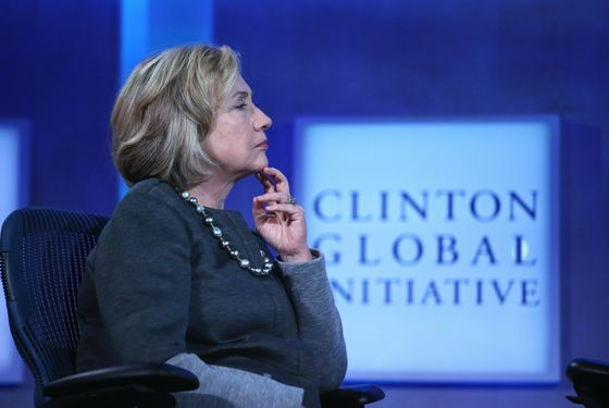 NEW YORK, NY - SEPTEMBER 22:  Former U.S. Secretary of State Hillary Clinton listens during a panel discussion at the opening plenary session of the Clinton Global Initiative (CGI), on September 22, 2014 in New York City. The annual meeting, established in 2005 by President Clinton, convenes global leaders to discuss solutions to world problems. At left is Chilean President Michelle Bachelet.  (Photo by John Moore/Getty Images)