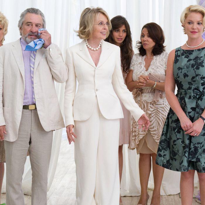 From left to right: Muffin (Christine Ebersole), Don (Robert De Niro), Ellie (Diane Keaton), Nuria (Ana Ayora), Madonna (Patricia Rae) and Lyla (Katherine Heigl) in THE BIG WEDDING. Photo credit: Barry Wetcher