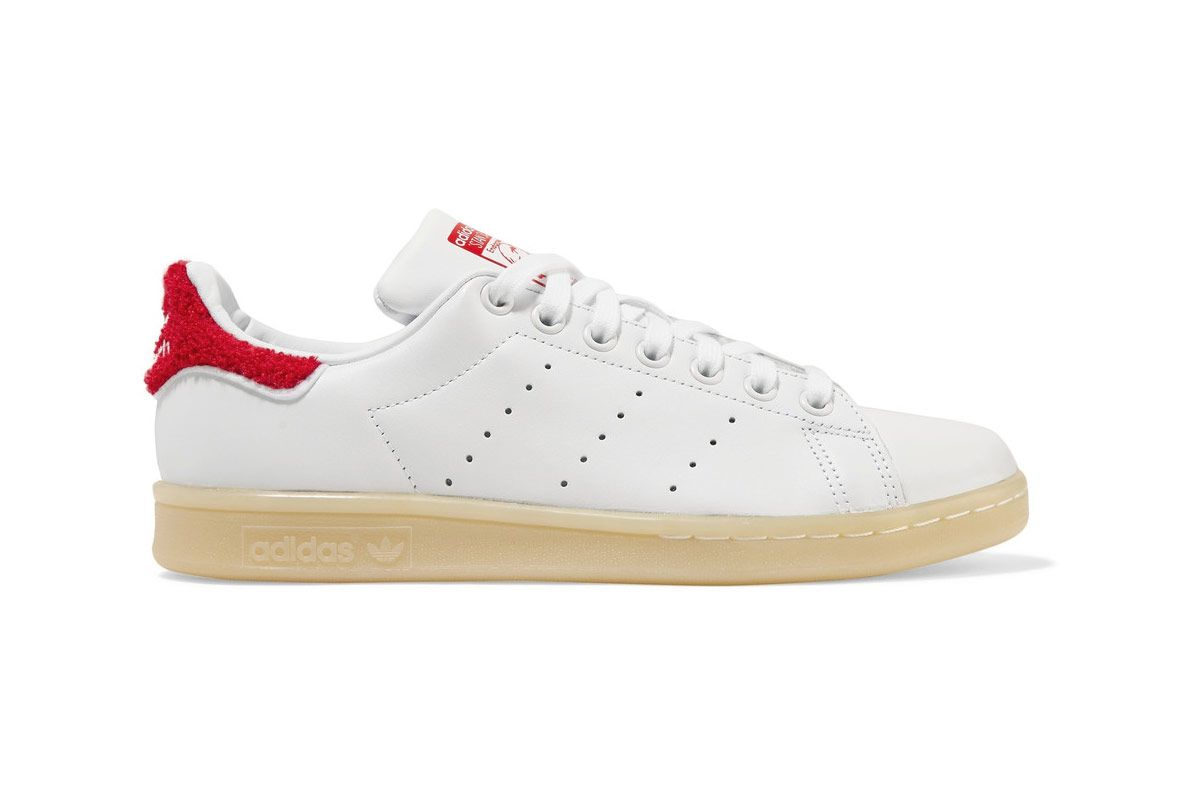 Adidas Originals Stan Smith Winter Terry-Trimmed Leather Sneakers
