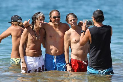 Steven Tyler, Joe Perry and Joey Kramer of Aerosmith spotted having a beach day in Maui, Hawaii. The Toxic Twins and Joey were all smiles as they spent the day paddleboarding with their spouses and girlfriends and others while enjoying the warm waters in front of the Four Seasons Maui. The band is in Maui taking a break before hitting the road on the next leg of their current world tour. <P> Pictured: Steven Tyler, Joey Kramer and Joe Perry <P> <B>Ref: SPL335537  151111  </B><BR/> Picture by: Derek Shook / Splash News<BR/> </P><P> <B>Splash News and Pictures</B><BR/> Los Angeles:	310-821-2666<BR/> New York:	212-619-2666<BR/> London:	870-934-2666<BR/> photodesk@splashnews.com<BR/> </P>