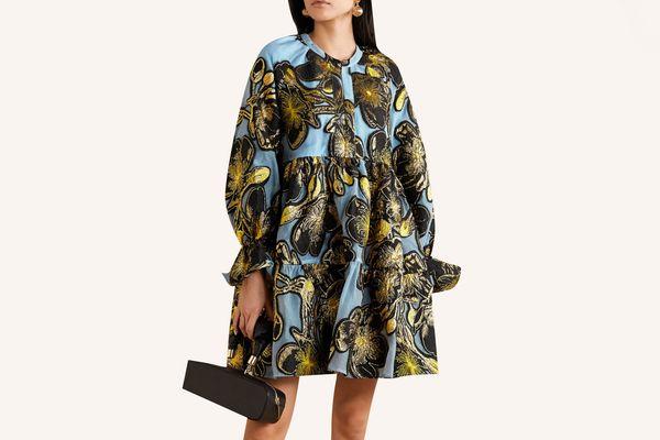 Stine Goya Metallic Floral-Jacquard Mini Dress