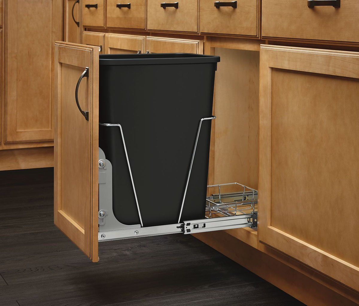 Rev-A-Shelf 35-Qt. Pull-Out Black-and-Chrome Waste Container