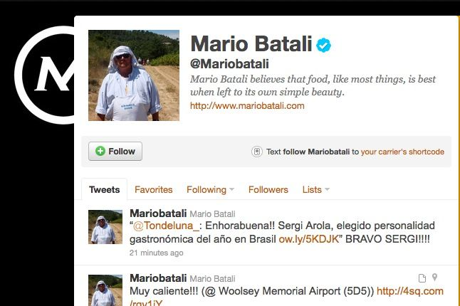 Batali's Twitter feed, in snapshot form.