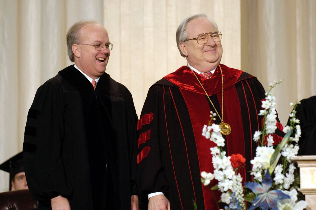 "LYNCHBURG, VA - MAY 8:  Karl Rove (L), chief political advisor to President Bush, and the Rev. Jerry Falwell attend commencement of Falwell's Liberty University May 8, 2004 in Lynchburg, Virginia. Rove, who received an honorary doctorate in the humanities, told graduates to have the courage to ""do what's right, regardless of consequence, fashion or fad.""   (Photo by Eric Brady/Getty Images)"