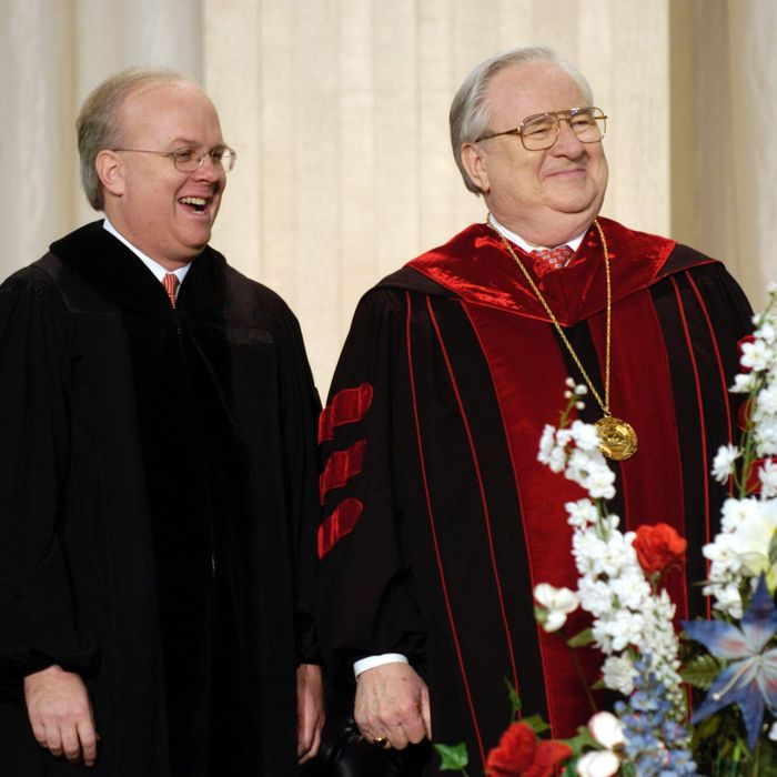 LYNCHBURG, VA - MAY 8: Karl Rove (L), chief political advisor to President Bush, and the Rev. Jerry Falwell attend commencement of Falwell's Liberty University May 8, 2004 in Lynchburg, Virginia. Rove, who received an honorary doctorate in the humanities, told graduates to have the courage to