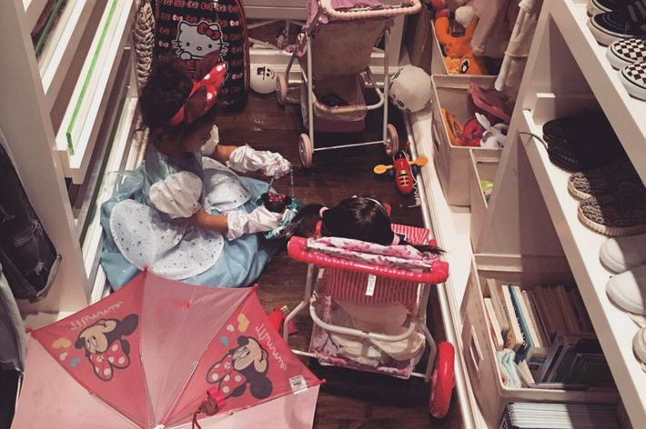 North West in her closet.