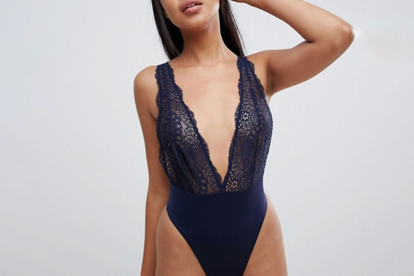 ASOS Design Bonded Lace High Leg Plunge Bodysuit