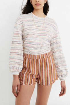 Madewell Linen-Cotton Pull-On Shorts in Rainbow Stripe