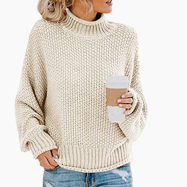 Saodimallsu Womens Turtleneck Oversized Sweater