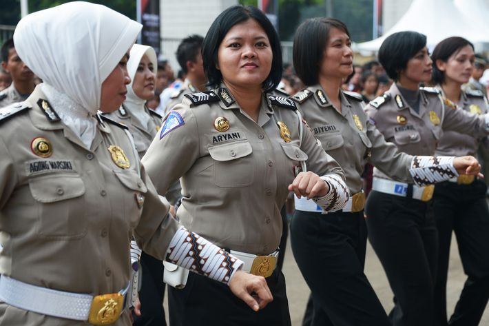 "Indonesian police women participate in ""Indonesia Menari"", an Indonesian dance event, in Jakarta on November 24, 2013. The event is held to encourage people to dance."