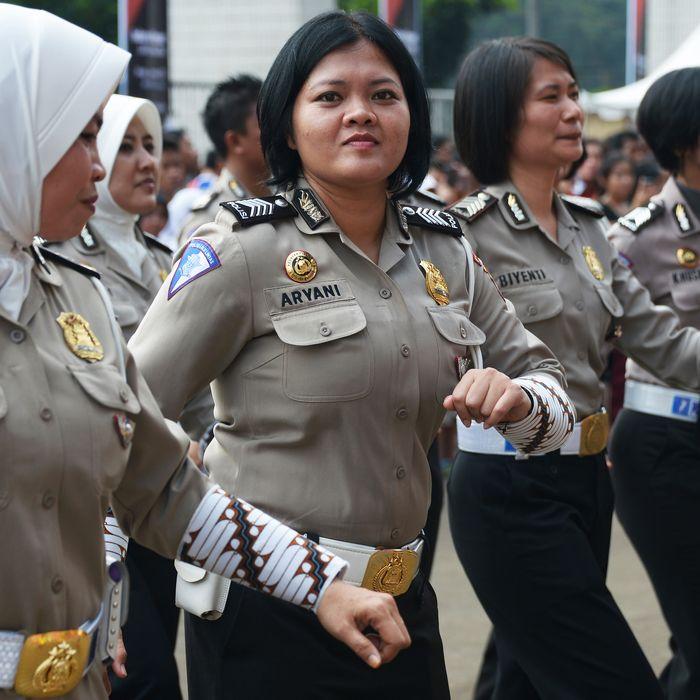 Indonesian police women participate in
