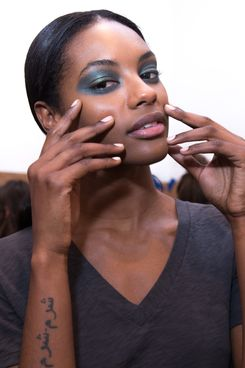 NEW YORK, NY - FEBRUARY 09:  A model poses JINsoon Nails backstage during JINsoon at Derek Lam Fall/Winter 2014 at Sean Kelly Gallery on February 9, 2014 in New York City.  (Photo by Anna Webber/Getty Images for JINsoon)