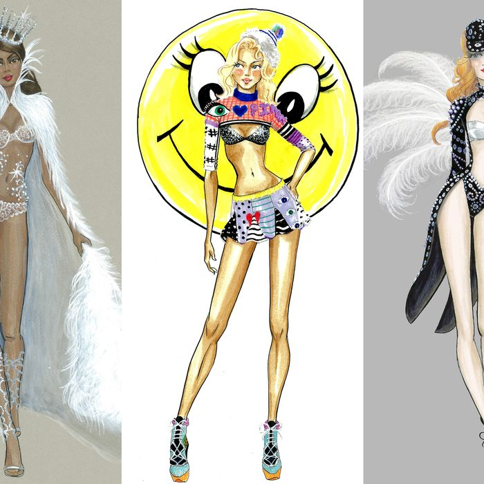 Sketches from the 2014 Victoria's Secret Fashion Show.