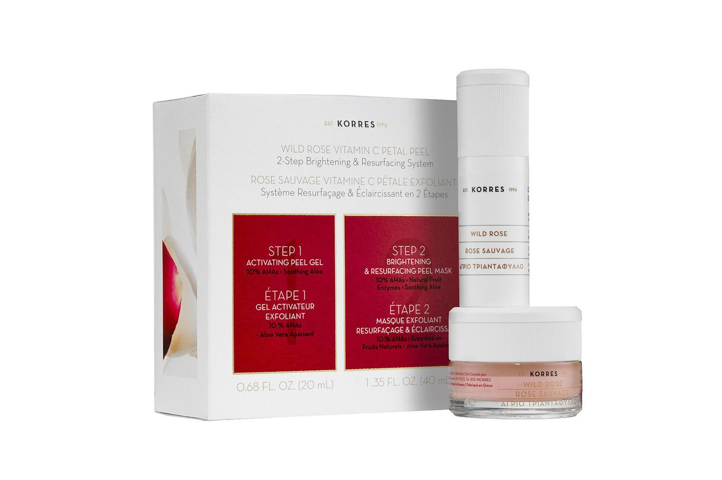 Korres Wild Rose Vitamin C Petal Peel 2-Step Brightening & Resurfacing System