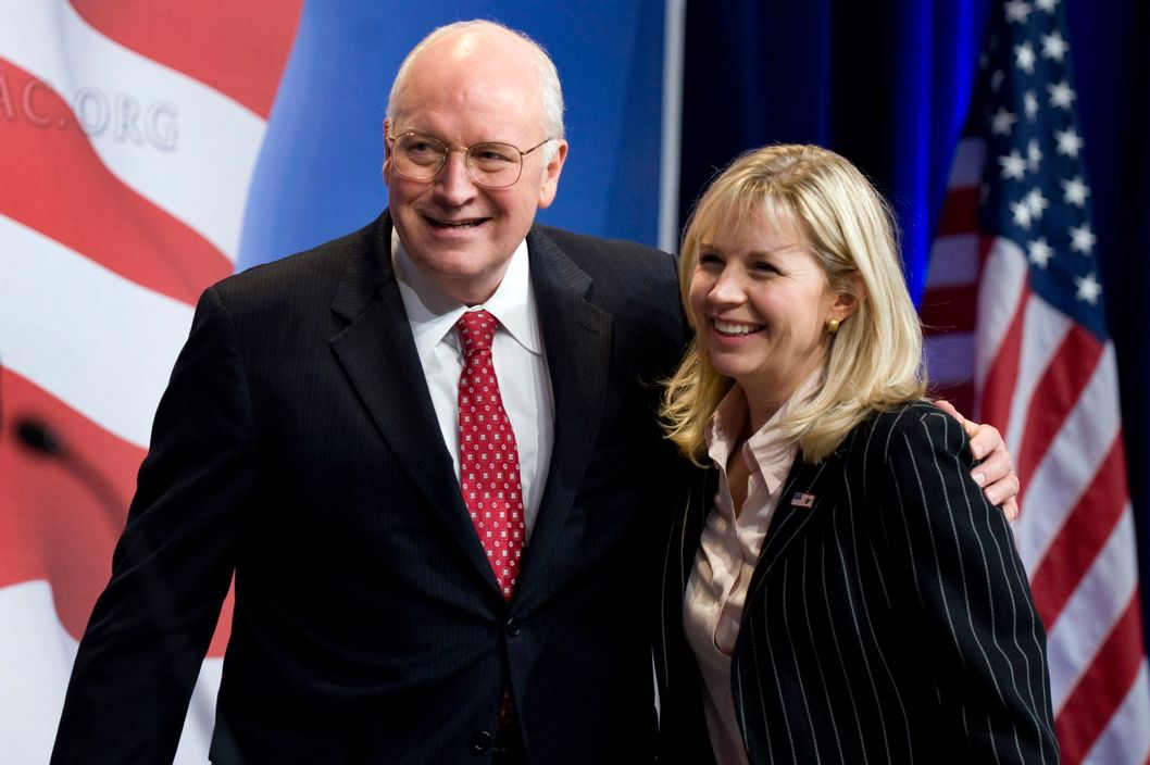 Former Vice President Dick Cheney embraces his daughter Liz Cheney after he addressed the Conservative Political Action Conference (CPAC) held at the Marriott Wardman Park hotel, Feb. 18, 2010.