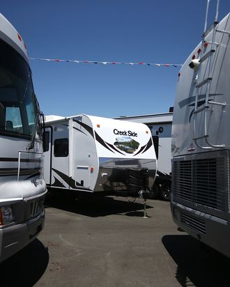 FAIRFIELD, CA - MAY 29: Motorhomes and tow-able RVs are displayed at Cordelia RV on May 29, 2013 in Fairfield, California. Deliveries of motor homes and towable RVs to dealers surged 11 percent in the first quarter and the RV industry anticipates a total of 307,300 units will be shipped this year, the highest number since 2007. (Photo by Justin Sullivan/Getty Images)
