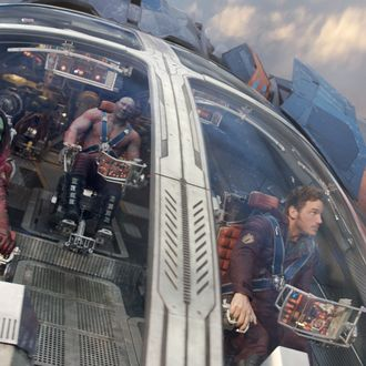Marvel's Guardians Of The Galaxy..L to R: Gamora (Zoe Saldana), Groot (voiced by Vin Diesel), Drax the Destroyer (Dave Bautista) and Peter Quill/Star-Lord (Chris Pratt)..Ph: Film Frame..?Marvel 2014
