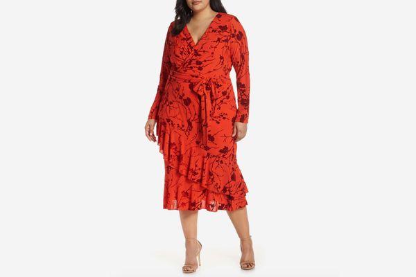 Rachel Rachel Roy Ruffle-Hem Faux-Wrap Midi Dress