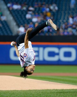 laurie hernandez has a flippin good time throwing out a first pitch