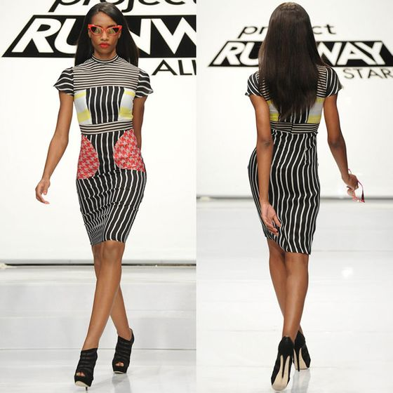 Kenley came up with this interesting mix of stripes and houndstooth, which actually felt a bit Mondo. Cute color-blocking, clashing prints made wearable — we felt Kenley got short-shafted again. The judges must be doing it on purpose to bring on a big ol' tantrum, surely?