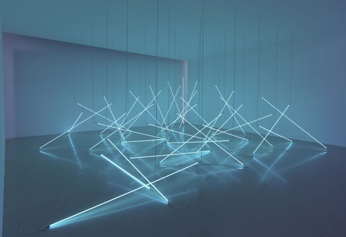 Picture of neon fluorescent lights in museum