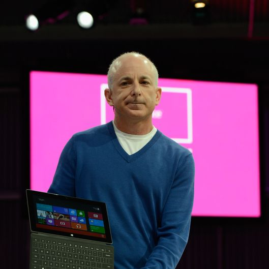 Steven Sinofsky, President of Windows, holds the new tablet Surface by Microsoft during a news conference at Milk Studios on June 18, 2012 in Los Angeles, California. The new Surface tablet utilizes a 10.6 inch screen with a cover that contains a full multitouch keyboard.