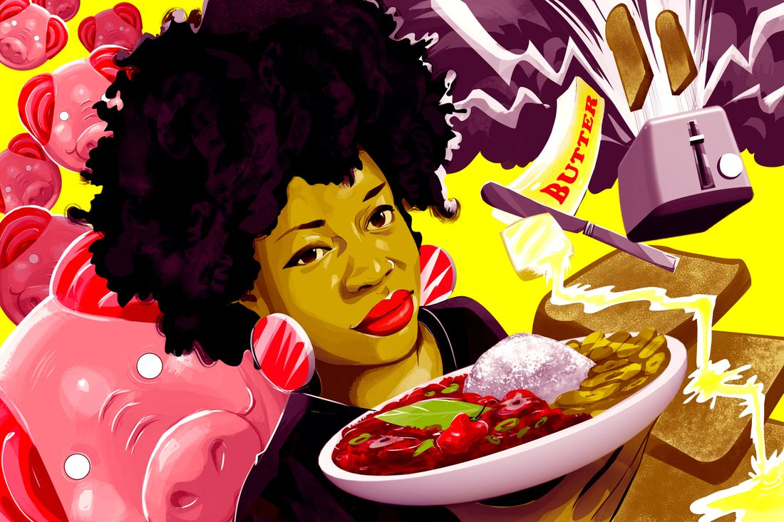 An illustration of Bim Adewunmi eating a bowl of Nigerian stew surrounded by toast and pig-shaped candies.