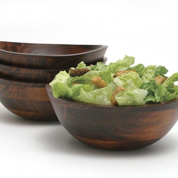 Lipper International Cherry-Finished Wavy-Rim Salad Bowls