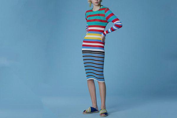 Diane von Furstenberg Long-Sleeve Crew Neck Knit Dress, Spearmint Multi