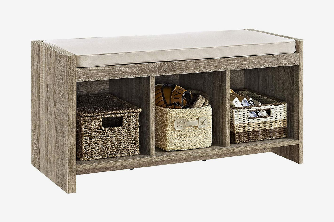 Ameriwood Home Penelope Entryway Storage Bench With Cushion