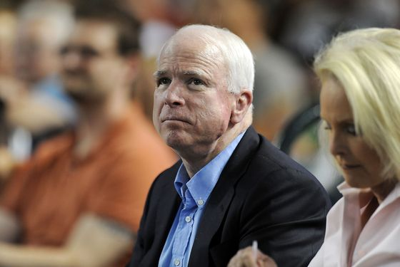 PHOENIX, AZ - JUNE 23:  Arizona Senator John McCain watches a game between the Arizona Diamondbacks and the Chicago Cubs at Chase Field on June 23, 2012 in Phoenix, Arizona.  (Photo by Norm Hall/Getty Images)