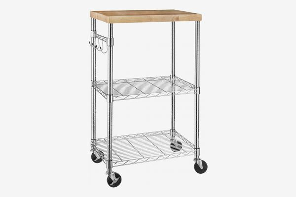 AmazonBasics Kitchen Rolling Microwave Cart on Wheels