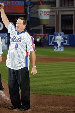 NEW YORK - SEPTEMBER 28:  Former New York Met Gary Carter thanks fans from the field in a post game ceremony after the last regular season baseball game ever played in Shea Stadium against the Florida Marlins on September 28, 2008 in the Flushing neighborhood of the Queens borough of New York City. The Mets plan to start next season at their new stadium Citi Field after playing in Shea for over 44 years.  (Photo by Jim McIsaac/Getty Images)