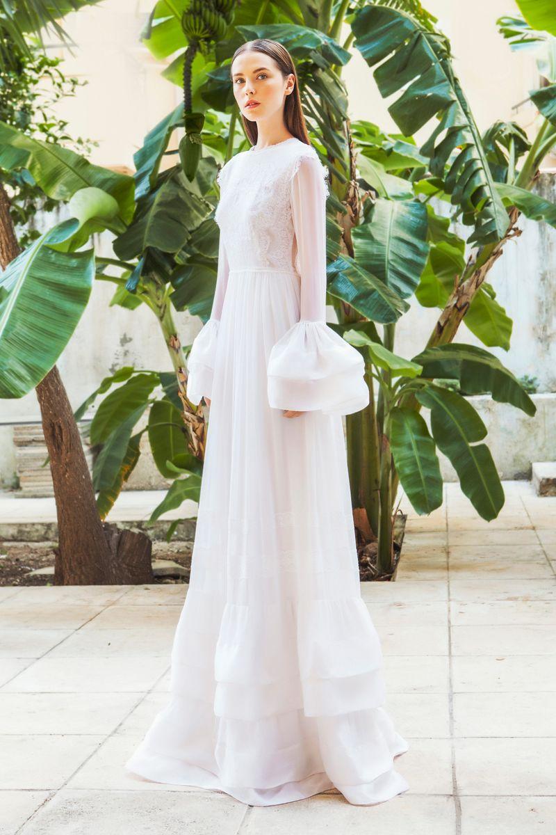 Christos costarellos fall 2015 bridal the cut for Wedding dress bell sleeves